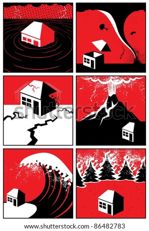 Natural Disasters: Set of 6 illustrations/icons of natural disasters. No transparency and gradients used.