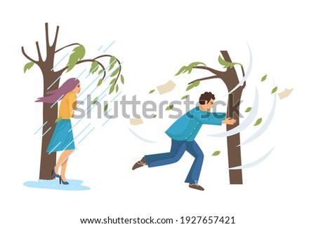 Natural disasters, severe weather conditions hurricane, rain. Girl hiding from heavy downpour. Man holding on to tree fleeing stormy wind. Swirling tornado, rainstorm with strong wind breaks trees Stockfoto ©