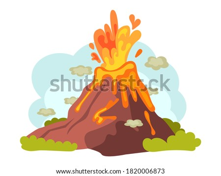 Natural disasters volcanic eruptions. Wild landscape volcanic eruption with flowing burning lava down. Cataclysm, catastrophe, destruction of nature cartoon vector illustration Photo stock ©