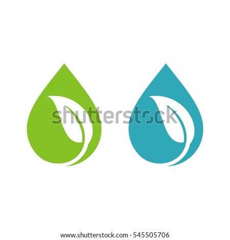 Natural Drop Water Spa Logo Template