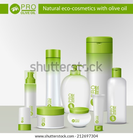 Natural eco-cosmetics with olive oil. Set product  for body care in a green and white packaging.