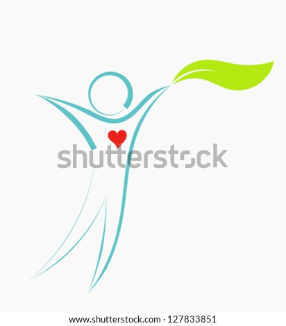 Natural eco man with leaf icon. Vector illustration - stock vector