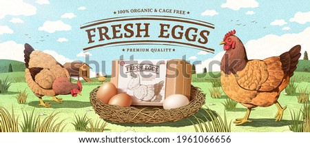 Natural farm product ad banner in engraving design with color. Happy hen walking around a nest with egg box mock up. Concept of free range chicken and fresh farm egg.