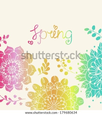Natural floral background with Spring lettering, for design of holiday cards, cover or packing design, Vector