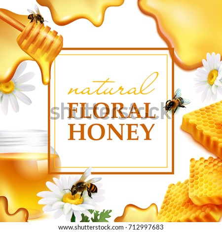 Natural floral honey colorful frame with honeycombs daisy flowers bees and honey flowing realistic vector illustration