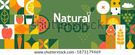 Natural food banner in flat style. Fruits and vegetables in simple geometric shapes.Great for flyer, web poster, natural products presentation templates, cover design. Vector illustration.