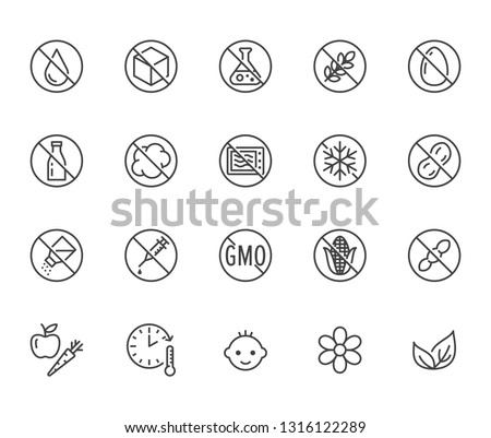 Natural food flat line icons set. Sugar, gluten free, no trans fats, salt, egg, nuts, vegan vector illustrations. Thin signs for packaging, expiration date. Pixel perfect 64x64. Editable Strokes.