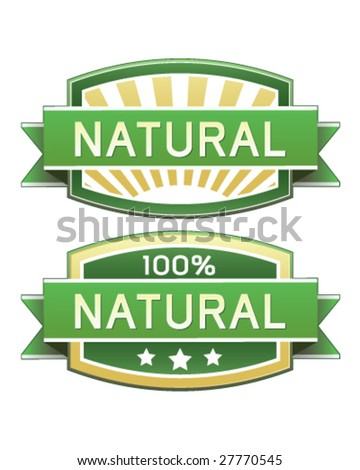 Natural food or product label - vector label good for web or print use - stock vector