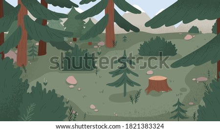 Natural forest landscape vector flat illustration. Wild woods scenery with spruces, stumps, bushes, trees and grass. Empty environment with plants and mountains. Wilderness area, woodland location Stockfoto ©