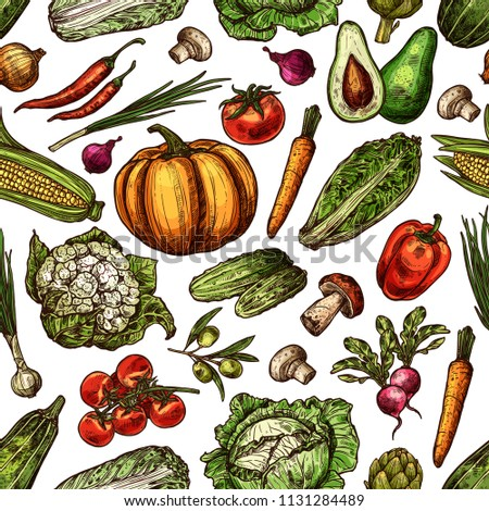 Natural fresh vegetables sketch seamless pattern background of fresh organic farm cucumber or tomato and pumpkin or cabbage. Vector harvest of corn, carrot, mushroom, onion and pepper or potato #1131284489