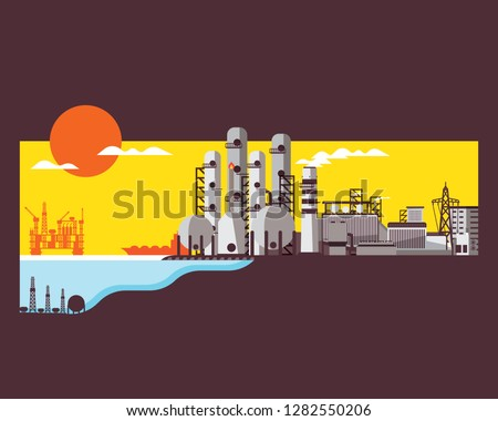 natural gas energy, natural gas power plant generate the electricity, refinery seperate the natural gas  #1282550206