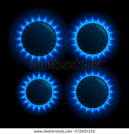 Natural gas flame. Burner gas stove on black background stock photo
