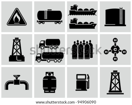 natural gas icons set