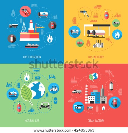 Natural gas industry concept with extraction production storage supply distribution clean factory isolated vector illustration  #424853863