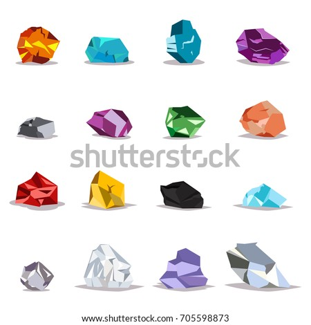 Natural gemstones, metals and crystals: gold, silver, diamonds and other. Vector icon set of raw minerals for jewelry isolated on white background.