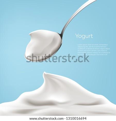 Natural greek yogurt in the spoon vector illustration