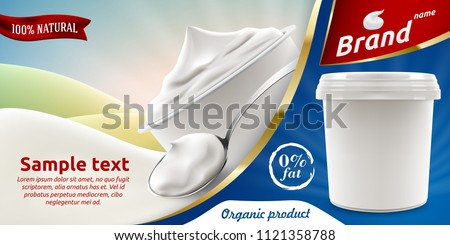 Natural Greek Yogurt or ice-cream ads flyer with spoon of yoghurt or cream and blank packaging container 3d vector realistic illustration