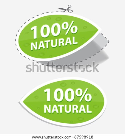 natural green labels, for your design, eps 10 - stock vector