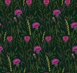 Natural hand-drawn vector pattern with wild flowers. Meadow with various injuries, herbaceous plants, sickle flowers on a dark green background. Seamless pattern for printing.