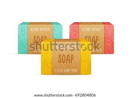 Natural handmade vector soap bars isolated on white background. Organic spa soap making.