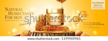 Natural honey skin care banner ads with beehive and cream jar on trunk section platform, 3d illustration glittering background