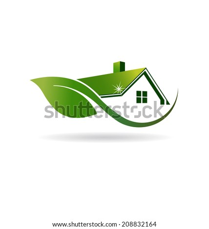 Natural House cleaning image Vector icon