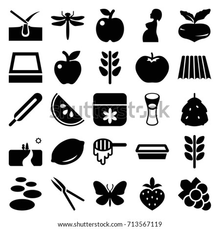 Natural icons set. set of 25 natural filled icons such as field, berry, beet, apple, lemon, honey, dragonfly, butterfly, shave hair in skin, flower, grape, milk glass