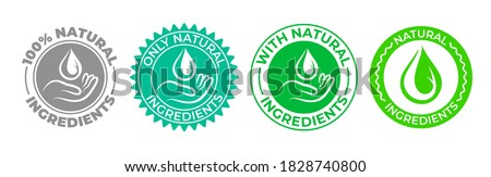 Natural ingredients product icon, green organic bio vector logo with hand and water drop. 100 percent only natural ingredients made, pure organic eco label certificate stamp for natural products