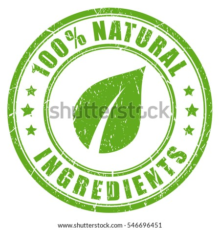 Natural ingredients rubber vector stamp. Green natural stamp imprint. #546696451