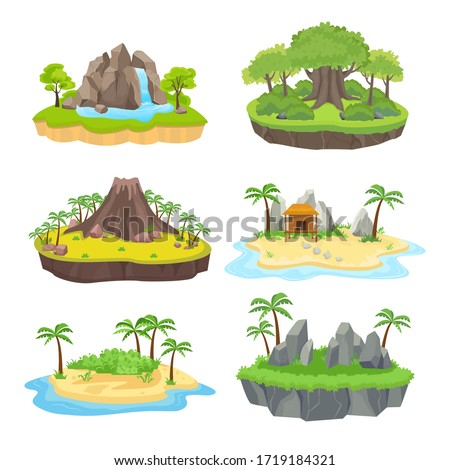 Natural island set. Tropical isometric green island with palm and trees, with a brown volcano in the center, yellow bungalow on the shore, blue waterfall. Vector graphics in flat style.