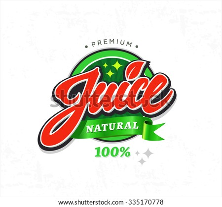 natural juice sticker vector