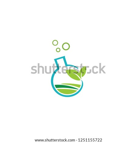 Natural lab logo. Green leaves, tree in a shape of testing flask. Tests, cosmetics, chemist's sign. Scientific environmental researches. Healthy life or products symbol. Pharmaceutical companie
