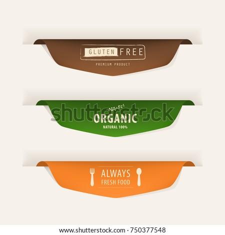 natural label and organic fresh food  label. vintage labels and badges design.