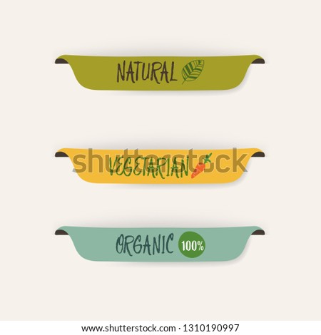 natural label and organic label green color and banner. vintage labels and badges design.