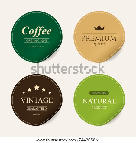 natural label and organic label green color and sticker paper kraft. vintage badges design.