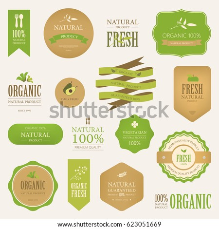 natural label and organic label green color. vintage labels and badges design.