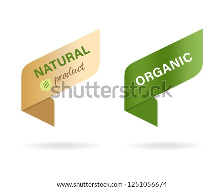 natural label and organic label green. modern banner and badges design.