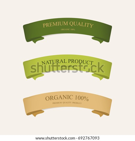natural label and organic ribbon green color. vintage labels and badges design.