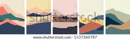Natural landscape background with Japanese pattern vector in banner style. Abstract arts template with geometric elements. Mountain forest illustration.