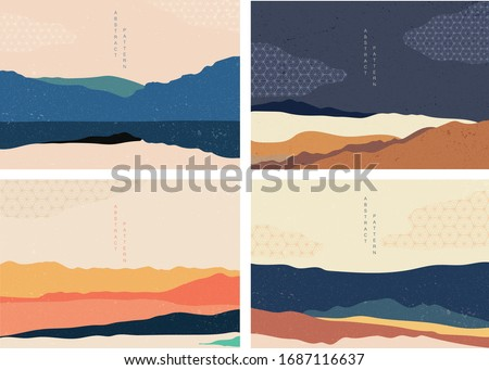 Natural landscape background with Japanese pattern vector. Mountain forest template with geometric elements. Abstract arts wallpaper.