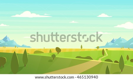 Natural landscape. Cartoon illustration style.