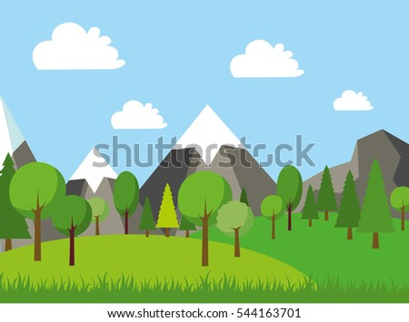 Natural landscape in the flat style. Environmentally friendly natural landscape. Green landscape with mountains