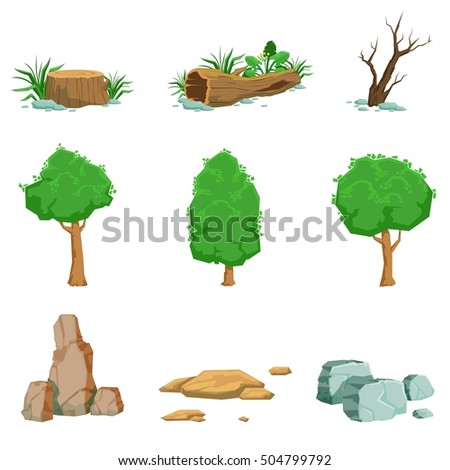 natural landscape objects set