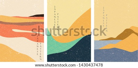 Natural landscape pattern vector with Japanese wave pattern. Abstract arts background. Mountain forest template in Asian style. Sea in sunset backdrop.