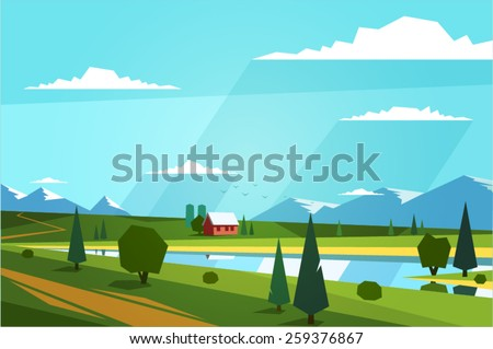 Stock Photo Natural landscape. Vector illustration.
