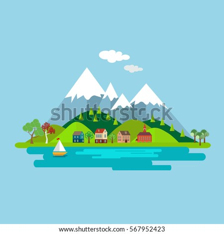 natural landscape with houses