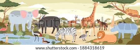 Natural landscape with savannah animals, reptiles and birds. Panoramic colorfuscenery with wild habitant. Exotic savanna inhabitants in african national park. Flat vector illustration in cartoon style stock photo
