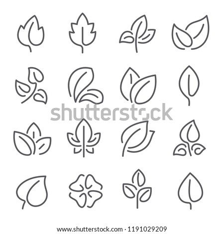 Natural leaf line icons. Young leaves of plants, forest tree oak, elm and ash leafs and eco greens fertilizer or autumn fall, garden vector outline pictogram isolated symbol set