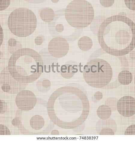 Natural linen fabric with drawing circles