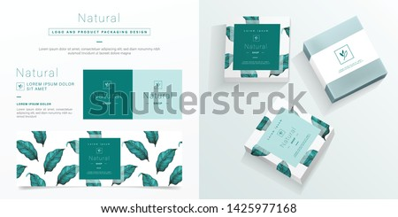 Natural logo and packaging design template. Natural soap package mockup created by vector. Watercolor green leaf pattern for branding and corporate identity design.